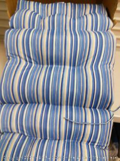 Indoor/Outdoor High Back Chair Cushion Sapphire Stripe, Set of 2 (online $129)