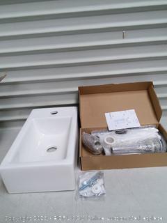 Wall Mount Bathroom Porcelain Ceramic Vessel Sink & Chrome Faucet Combo (online $110)