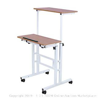 Mobile Stand Up Computer Desk, with Wheels, Height Adjustable, Two Tiers (online $60)
