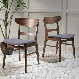 Fabric/Walnut Finish Dining Chair (Set of 2), Dark Grey (online $128)
