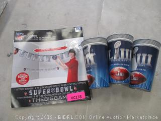 NFL JUMBO LETTER BANNER KIT & CUPS