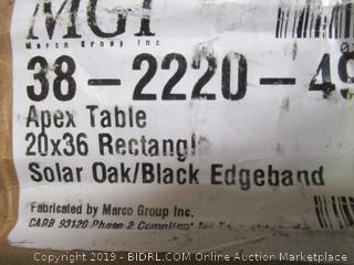 Apex Table 20x36 Rectangle Solar Oak Black Edgeband