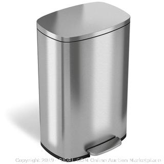 iTouchless SoftStep 13.2 Gallon Stainless Steel Step Trash Can (online $79)