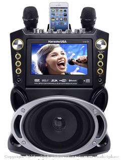 "Karaoke USA GF844 Complete Karaoke System with 2 Microphones, Remote Control, 7"" Color Screen, LED Lights (Online $129)"