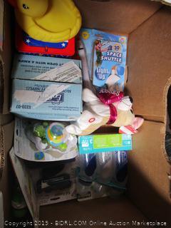 Box Lot Baby Supplies, Bottles, Rubber Duck, Teddy Bear