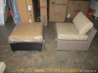 Outdoor Chair and Ottoman/ mismatched