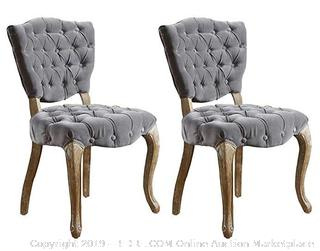 Lane Tufted Fabric Dining Chair -Grey - Set of 2 (Online $251)