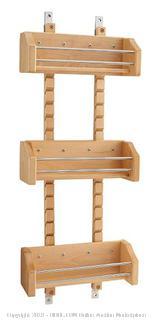 "Rev-a-shelf 15"" Adjustable Door Mount Wood Spice Rack with Chrome Rails (Online $59.99)"
