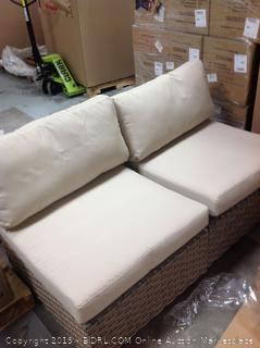 Rochford Rattan Sectional Seating w/ Cushions (online $1593) Throw pillows not included