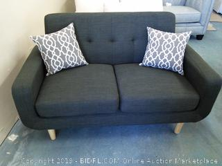 Rumsey Loveseat by Langly Street in Grey w/Throw Pillows- Dorm Room Size!! (Online $326.99)