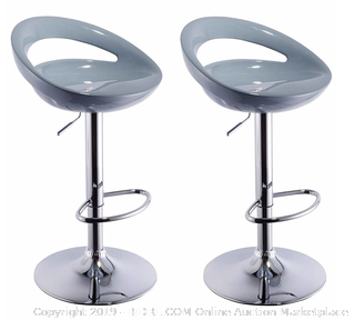 Duhome 2 PCS Swizzle Gloss Finish Crescent Shape Adjustable Swivel Bar Stools Kitchen Counter Top