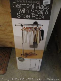 Portable & Folding Dual Adjustable Garment Rack  & Shoe Rack
