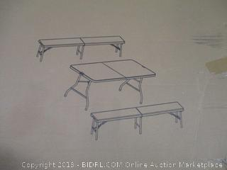 Folding Bench and Table Set