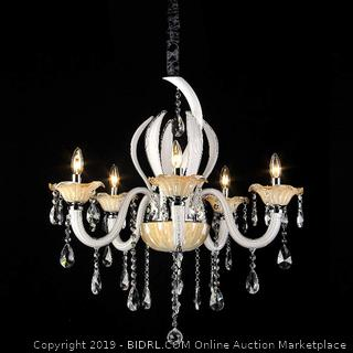 Whse of Tiffany RL8073 Carla 5-Light White & Amber 28 inch Crystal Chandelier(Factory Sealed) online $164