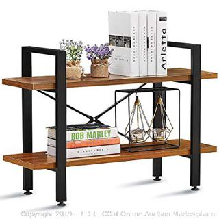 GreenForest Bookshelf 2-Tier Rustic Wood and Metal (online $65) items on shelf not included