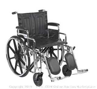 Drive Medical Sentra Extra Heavy Duty Wheelchair (Online $326) with Various Arm Styles and Front Rigging Options, Black Upholstery and Chrome Frame, Bariatric, 20 Inch
