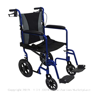 "Vive Bariatric Transport Wheelchair (Online $214) - Folding Aluminum Chair with Hand Brakes - Lightweight, Foldable, Travel & Adjustable Manual Mobility Aid - Ultralight Comfortable 19"" Wide Handicap Transfer Seat"
