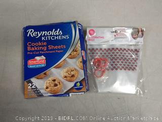 decoration bags and Reynolds kitchen cookie sheets