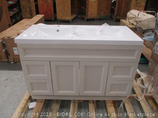 Bath Vanity Cabinet with sink Slight damage on corner bottom See Pictures