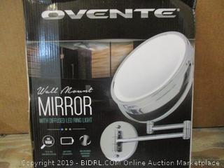 Ovente Wall Mount Mirror with Diffused LED Ring Light  damaged box