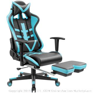 Homall Gaming Chair Ergonomic High-Back Racing Chair Pu Leather Bucket Seat,Computer Swivel Office Chair Headrest and Lumbar Support Executive Desk Chair with Footrest, Black/Blue (Retail $139.00)