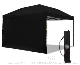 Punchau Pop Up Canopy Tent with Sidewall, 10' x 10', Black (Online $140)