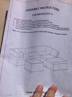 Morrissey Rattan Sectional Seating Group with Cushions (online $923) Glass to table not included