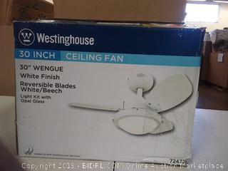 "Westinghouse 30"" Ceiling Fan, Model #7247200, Two-Light Reversible, Three-Blade, White (Online $80.56)"