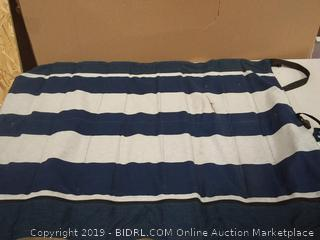 Striped Blue and Gray Stair Barrier