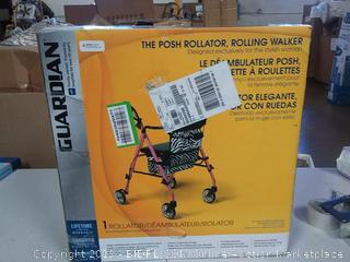 Guardian Posh Premium Lightweight Foldable Aluminum Rollator Walker with 6 Inch Wheels, Pink (Online $109.28)