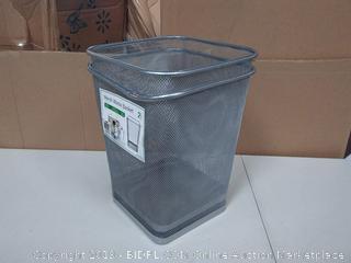 Greenco Mesh Wastebasket Trash Can, Square, 6 Gallon, Silver, 2 Pack ( rim of 1 waste basket bent)