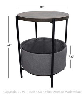 Round Walnut Side Table with Gray Storage Container