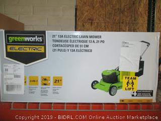 "greenworks 21"" electric lawnmower"