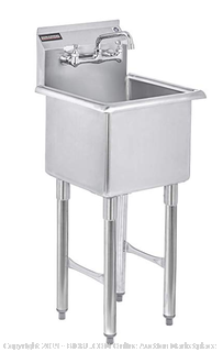 """DuraSteel Stainless Steel Prep & Utility Sink (Online $287) - 1 Compartment Commercial Kitchen Sink - NSF Certified - 15"""" x 15"""" Inner Tub Size with 6"""" Swivel Spout Faucet (Kitchen, Laundry, Backyard, Garages)"""