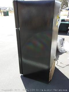 GE 15.5 Cu. Ft. Frost-Free Top-Freezer Refrigerator Black (minor dents on side) online $595 - Powers on but does not get cold. Model & Serial # in photos to research warranty