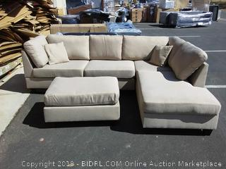 Hempfill reversible sectional ( ottoman has 2 loose legs & small stains small on sectional and ottoman) online $705