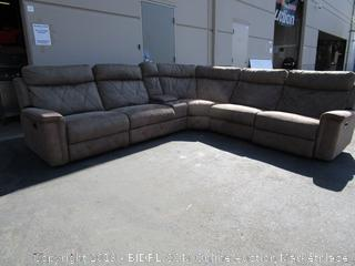 Beautiful Large Beige Faux Suede Sectional Couch