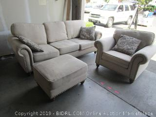 Fabric Sofa, Chair & Ottoman Set