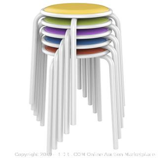 Assorted Metal Stool With Colorful Padded Seat (online $60)