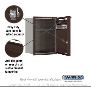 Horizontal Mailbox 23 in High Steel Bronze front-loaded (Online $235)