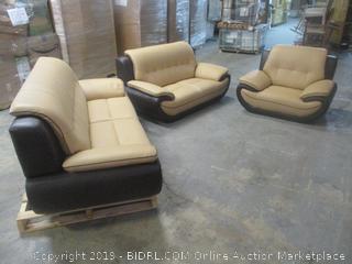 color block leather furniture set - slight damage