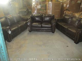 brown leather furniture set including pull-out sofa