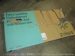 Zinus Faux Leather Platform Bed, Queen