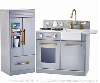 Teamson Kids - Chelsea Modern Wooden Kids Play Kitchen Toddler Pretend Play Set with Working Ice Maker and Removable Sink - Silver Grey ($183 Online)