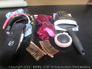 Misc. Lot Hair Clips And Hair Brush
