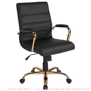 Flash Furniture Mid-Back Black Leather Executive Swivel Office Chair with Gold Frame and Arms (online $133)