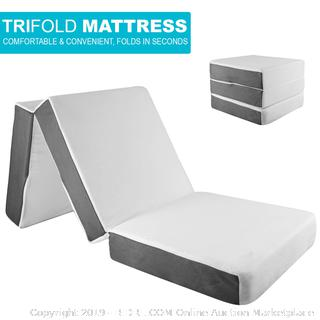 SAMAY 6 Inch Tri Folding Foam Mattress - Includes Waterproof Mattress Protector and Washable Cover (online $104)