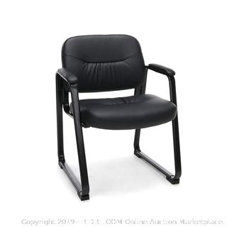 Essentials Leather Executive Side Chair - Guest/Reception Chair with Sled Base, Black (online $75)