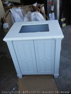 Dove gray Doris 29 inch single sink bathroom vanity (crack in top and shelve broken in half) online $629