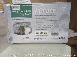iCrate Folding Double Door Dog Crate (Box Damaged) (Please Preview)
